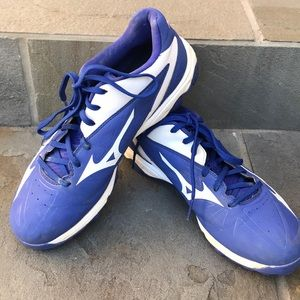 Men's Mizuno molded baseball cleats royal blue 10